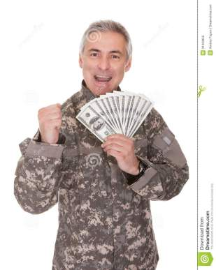 happy-mature-soldier-holding-dollar-bills-isolated-white-background-31433950